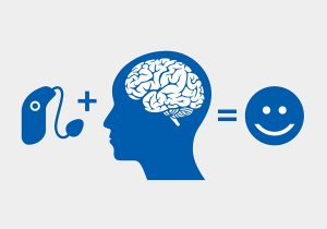 illustration of hearing aid plus brain equals happy
